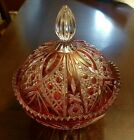 Crystal Red Cut to Clear Glass candy dish sawtooth edge Unique design Vintage