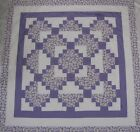 Log Cabin Stairs Quilt Top PIECED Purple Daisy 1 Center Baby Lap 52 Sq USA