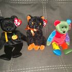 Ty Beanie Baby Halloween Lot Of 3 with tags frankenteddy,fraidy,haunt
