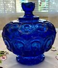 LE Smith Moon and Star Vintage Cobalt Blue Pedestal Candy Dish with Lid 8