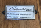 1972 1976 Lincoln Continental Mark IV Engine Data Plate