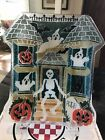 PEGGY KARR GLASS HALLOWEEN HAUNTED HOUSE SKELETON PLATE new in box