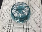 VICTORIAN BLUE GLASS TRINKET BOX WITH COLORFUL HAND PAINTED FLOWERS FRANCE