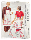 1949 Vintage McCall Sewing Pattern 1481 Mr  Mrs Aprons 2 Styles One Size 8537