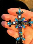 HUGE Blue Crystals Cross with a Carnival Glass Chain