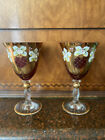 Set Of 2 Bohemian Murano Venetian Ruby Red Hand Painted Wine Glass Goblets Gold