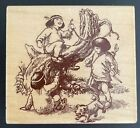 Playful Papoose Native American Indian Kids Children Forest Wood Rubber Stamp