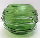 Vintage Funky Art Glass Green Globe Vase with Applied Clear Glass Wrap