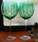 GORHAM CRYSTAL Cherrywood Emerald GREEN 2 WINE goblets 825 Cut To Clear