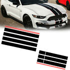 Black+Red Graphics Racing Stripe Hood Roof Trunk Decal Sticker For Ford Mustang