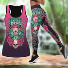 Native American Wolf Girl Pink Active Wear All Over Printed Tank Top  Leggings