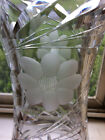 VINTAGE 12  FLOWER VASEHAND CUT LEAD CRYSTALDECORATIVE ETCHED HEAVY GLASS