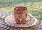 Moser Art Glass Raised Gold Enameled Cranberry Cup and Saucer VERY NICE