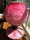 antique victorian Intaglio Carved cased pink Glass Oil Lamp