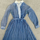 Antique Edwardian Blue  White Checked Cotton Work Dress Glass Buttons Vintage