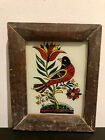 Medium Vintage Indian Reverse Glass Painting Bird Of Paradise In Bright Colours