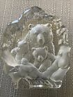 Large Etched Cut Lead Crystal Glass BEAR  CUBS Ornament Paperweight 16cm Tall
