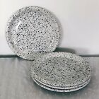 4 Crown Corning Japan Lunch Salad Plates Granito Blue Black Speckle Spatterware