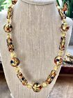 Murano Glass Womens Necklace Handmade In Venice Italy Gold Foil Beaded
