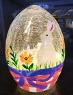 NEW EASTER LIGHTS UP LED CRACKLED GLASS HAND PAINTED BUNNY EGG DECOR 6X4