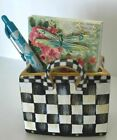 MY OWN Hand Painted Courtly Glass Mini Shopping Bag Vase Black  White Check