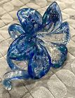Murano Art Glass Hand Blown Blue Flower Swirl Stem Six Petals Original Label