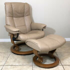 Ekornes Stressless Recliner Chair Medium Mayfair Leather Ottoman Norway