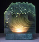 Rare HEATHER GLASS etched  carved WAVE SCULPTURE signed Heather Robyn Matthews