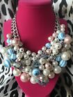 Betsey Johnson Anchors Away HUGE Pearl Striped Lucite Ball Anchor AB Necklace