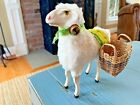 Putz Sheep Candy Container With Baskets Germany German Wooly Stick Leg Nativity