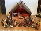 Vintage Large Nativity Scene Set Plaster Figures 18x14x12 Barn