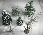LEMAX Christmas Village Lot of 7 TREES: 2 Spruce, 2 Pine, 3 Dead - snow covered