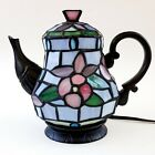 Tiffany Style Stained Glass Teapot Table Lamp Cheyenne Blue Purple Pink Flowers