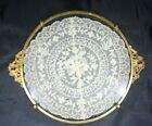 ANTIQUE VICTORIAN VTG BRASS GLASS VANITY JEWELRY PERFUME TRAY FRENCH LACE INSERT