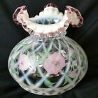 Fenton Meadow Beauty Lamp Shade White Trellis Ruffled Pink Crest Hand Painted