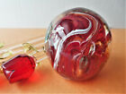 Vtg Murano Glass Clear & Red Paperweight  with Gold Fleck infused, made in Italy