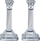 Tall Crystal Candlesticks 2 Pack Set Pair Of 8 Square Base Fluted Design Candle