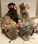 Ty Beanie Babies Lot of 4 - Very Good Condition (Cheeks, Almond, Tiptoe, Silver)