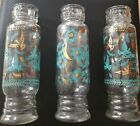 Vintage Retro Apothecary Jars Glass Turquoise and Gold Flowers Birds 91 2 Tall