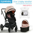 Cynebaby Luxury Baby Stroller 3 In 1 Pushchair Foldable Buggy Infant Travel