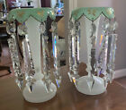 Pair 115 Tall French Opaline Glass Mantle Lusters w 16 Prisms Green  White