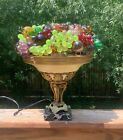 Large Czech Art Glass Fruit Lamp 12 wide Fruit to Fruit 10 Ring 10 Pound Shade