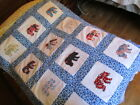 VERY PRETTY APPLIQUED AMERICAN BEAR QUILT TOP