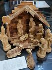 Olive Wood Persian Christmas Nativity Set with Stable FINE CARVED UNUSED READ