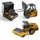 Metal Diecast Construction Set of 2 Heavy Metal Fork Lift and Road Roller 150