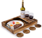 Serving Tray With Handles Wooden Ottoman Tray Outdoor Wine Picnic Table Glasses