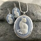 KITTY CAT LOCKET NECKLACE EARRING SET Wedgwood Blue color Cameo 925 Plate Chain