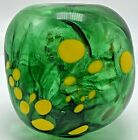 Art Glass Signed  Stamped Duncan 2002 Hand Blown Ball Cube Green Yellow