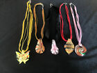 Art Glass Pendants With Cord Ribbon And Glass Bead Necklaces Lot Of 5