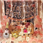 Birthday Party Decoration For Women Happy Birthday Banner Pink Balloons Party 63